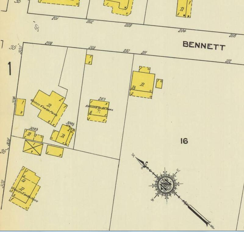 1912 Sanborn map showing orphanage on corner of Venning and Bennett